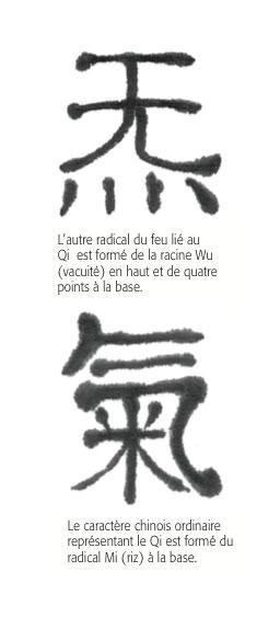 Le caractère chinois ordinaire représentant le Qi est formé du radical Mi (riz) à la base.